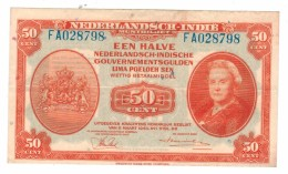 Netherlands Indies, 50 Cent, 1943.  VF/XF. Rare. Free Ship. To USA. - Indes Néerlandaises