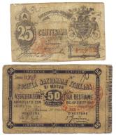 Banca Popolare Operaia 25 + 50 Centesimi Società Nazionale Di Mutua Assicurazione  Biglietti Fiduciari R2 RR LOTTO 1092 - [ 1] …-1946 : Koninkrijk