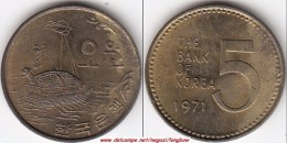 Corea Del Sud 5 Won 1971 KM#5a - Used - Corea Del Sud