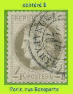N° 52 CÉRÈS IIIe RÉPUBLIQUE 1872 - OBLITÉRÉ B - CACHET À DATE DE PARIS : RUE BONAPARTE - - 1871-1875 Cérès