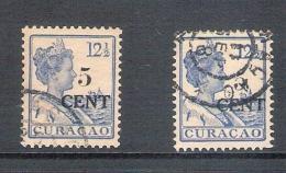 Curacao / Nederland 1918 Hulpzegel (nvph 74 + 74a) Gebruikt - Curaçao, Nederlandse Antillen, Aruba
