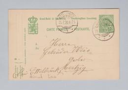 Heimat EU Luxemburg LAROCHETTE 1908-07-25 Ganzsache 5c Nach Mertzig - Entiers Postaux