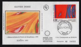 FRANCE FDC Premier Jour 17 Avril 1993 Olivier Debré EUROPA  N° YT 2797 - Paris- Rideau De Scène De L'Opéra De Hong-Kong - FDC
