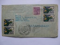 BRAZIL 1930 ZEPPELIN COVER RECIFE TO BIRMINGHAM ENGLAND WITH CONDOR ZEPPELIN LUFTHANSA CACHET AND STUTTGART TRANSIT MARK - Briefe U. Dokumente