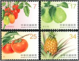 2016 Taiwan Fruit Stamps (II) Tomato Guava Persimmon Pineapple - Agriculture