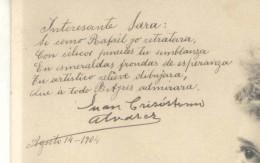 POEMA INEDITO DE JUAN CRISOSTOMO ALVAREZ AGOSTO 1904 ENVIADO A SU FESTEJADA SARAH ADELINA CORDOBA REYNAL EN BAHIA BLANCA - Engelen