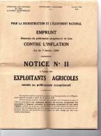 Notice Pour Exploitants Agricoles :pour La Reconstruction Et L´équipement National De L´emprunt Contre L´inflation - Decreti & Leggi