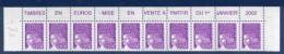 """Bande De 10 N° 3446**_bord De Feuille """"vente A Partir Du 1er Janvier 2002 - 1997-04 Marianne Van De 14de Juli"""