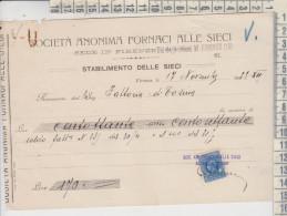 Firenze Ricevuta Società Anonima Fornaci Alle Sieci 1933 Con Marca Da Bollo - Documents Historiques