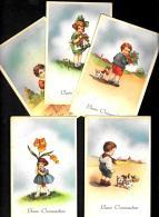 [DC3195] CPA - 5 CARTOLINE AUGURALI - BUON ONOMASTIICO - BAMBINI - FIORI - Non Viaggiata - Old Postcard - Niños