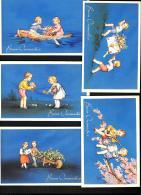 [DC3196] CPA - 5 CARTOLINE AUGURALI - BUON ONOMASTIICO - BAMBINI - FIORI - Non Viaggiata - Old Postcard - Niños