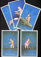 [DC3197] CPA - 5 CARTOLINE AUGURALI - BUON ONOMASTIICO - BAMBINI - FIORI - Non Viaggiata - Old Postcard - Niños