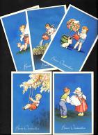 [DC3199] CPA - 5 CARTOLINE AUGURALI - BUON ONOMASTIICO - BAMBINI - FIORI - Non Viaggiata - Old Postcard - Niños