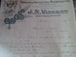 Facture Fabrique De Bicyclettes Et Motocyclettes Vincent  A Saint Pourcain Sur Sioule Annee 1906 - Trasporti