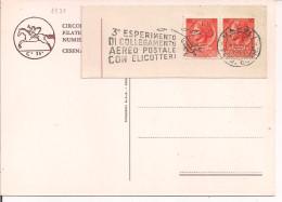 3° ESPERIMENTO DI COLLEGAMENTO AEREO POSTALE CON ELICOTTERI,TIMBRO POSTE NAPOLI TARGHETTA 1959,SU CARTOLINA N/V,CESENA - Elicotteri