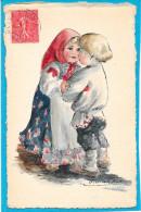 Cpa Dessinée Et Peinte Main - Couple D'enfants Russes - Ohne Zuordnung