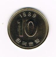 °°° KOREA - SOUTH 10 WON 1989 - Corée Du Sud