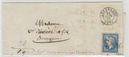 FRANCE: Timbre N° 22 Obl GC6 + Cad Les Abrets En 1863 Sur Lettre à En- Tête. Le Timbre A été Redessiné à L'encre........ - Marcophilie (Lettres)