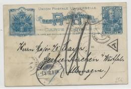1902 - HAITI - RARE CARTE ENTIER POSTAL Avec TAXE En FRANCE Pour GELSENKIRCHEN (ALLEMAGNE) - Haiti