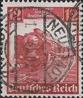 GERMANY 1935 German Railway Centenary. Locomotive - Class 603 Steam Train -  12pf. - Red  FU - Used Stamps