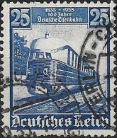 "GERMANY 1935 German Railway Centenary. Locomotive - Diesel Train ""Flying Hamberger"" -  25pf. - Blue   FU - Used Stamps"