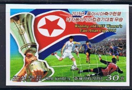 NORTH KOREA 2015 WINNING OF EAFF WOMEN´S EAST ASIAN FOOTBALL CUP 2015 STAMP IMPERFORATED