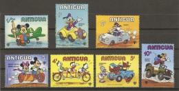 Antigua 1980 - Disney - Moyens De Transport - Petit Lot De 7 Timbres MNH - Jeep - Avion - Side-car - Vélo - Camion - Disney
