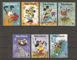 Turks & Caicos Islands 1979 - Disney - Scènes Aquatiques - Petit Lot De 7 Timbres MNH - Disney
