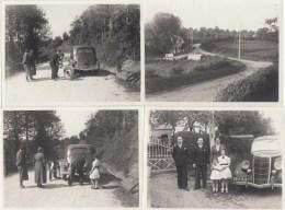 BEAUCHENE - TOURNEBRIDE  (ORNE)  4 PHOTOS 11,5 X 8,5 Cms - JUIN 1938 (voiture,crevaison) - Luoghi
