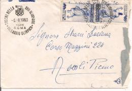 """OLIMPIADI DI ROMA 1960 -  Annullo """"GIOCHI XVII OLIMPIADE, VILLAGGIO OLIMPICO"""" 6.8.1960,SU BUSTA VIAGGIATA,TIMBRO LINEARE - Estate 1960: Roma"""