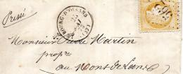 G C 562 LE BOURG D'OISANS Sur N°55, Avec Correspondance Du 25 Mai 1873 - Postmark Collection (Covers)