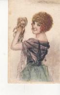 """Illustrateur  Mauzan   """" Femme Et Son Petit  Chien """"  N° 491 - 3 - Mauzan, L.A."""