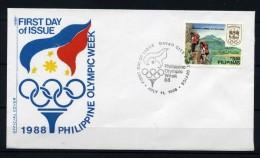 Filippine Philippines Philippinen Filipinas 1988 Olympics Week 5,50p Perf FDC Davao City (see Photo) - Philippines