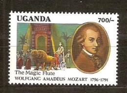 Ouganda Uganda  1991 Yvertn° 838 *** MNH Cote 7 Euro Mozart Musique - Ouganda (1962-...)