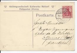 EMPIRE ALLEMAND - TIMBRE SUR CARTE ET CAD PHILIPPSTHAL DU 29/03/1913 POUR NIMES (FRANCE) - Storia Postale