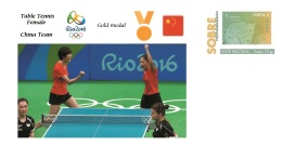 Spain 2016 - Olympic Games Rio 2016 - Gold Medal Table Tennis Female China Cover - Juegos Olímpicos