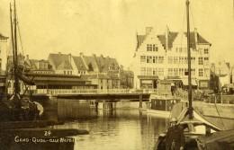 Belgique Gand Gent Quai Aux Herbes Graslei Ancienne Photo 1890 - Photographs