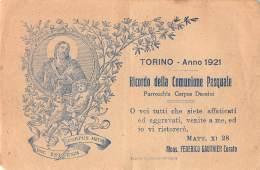 """06207 """"TORINO - PARROCCHIA CORPUS DOMINI - COMUNIONE PASQUALE 1921"""" IMM. RELIG. ORIGIN. - Santini"""