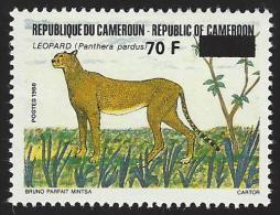 Cameroun Cameroon 1990 Leopard Cheetah Overprint 70f On 300f Mi 1166 Mint Neuf - Kameroen (1960-...)