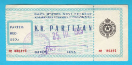 KK PARTIZAN Belgrade Serbia Ex Yugoslavia - Old Rare Basketball Match Ticket Basket-ball Billet Baloncesto Pallacanestro - Eintrittskarten