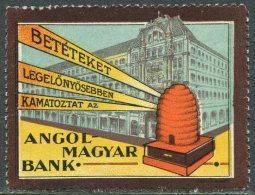 BEES Hungary Poster Stamp Vignette Anglo-Hungarian Bank Bee Beehive Biene Bienenstock Abeille Ruche Ungarn Reklamemarke - Honeybees