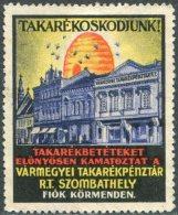 BEES Hungary Poster Stamp Vignette Savings Bank Bee Beehive Biene Bienenstock Abeille Ruche Reklamemarke Ungarn Hongrie - Abeilles