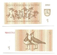 Lituania 1 Talonas 1992 Pick 39 UNC - Lituania