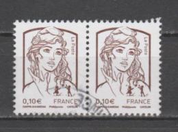 FRANCE / 2013 / Y&T N° 4765 : Ciappa 0.10 € (de Feuille Gommée) X 2 En Paire - Choisis - Cachet Rond - France