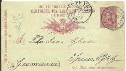 STATIONERY 1891  BOLOGNA A SPEYER - 1878-00 Umberto I