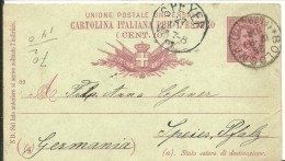 STATIONERY 1891  BOLOGNA A SPEYER - Stamped Stationery