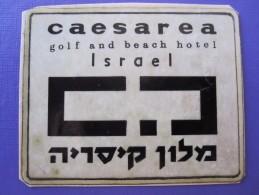 HOTEL MOTEL CAESAREA GOLF VINTAGE OLD ISRAEL PALESTINE TAG STICKER DECAL LUGGAGE LABEL ETIQUETTE AUFKLEBER - Etiquetas De Hotel