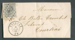 N°17 - 10 Centimes Gris Obl.LP. 363 Sur Lettre De TOURNAY Le 17 Novembre 1868 Vers Courtray. - 11303 - 1865-1866 Profile Left
