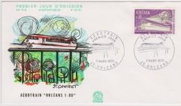 FDC 1970 - Aérotrain - Orleans - Illustration De J. Combet - 1970-1979