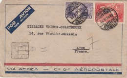 1932 LETTRE URUGUAY  COVER PEGASUS 60c  REGISTERED MONTEVIDEO  TO LYON FRANCE  VIA AEREA AÉROPOSTALE  / 7841 - Uruguay